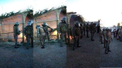 Carabineros de Chile desaloja con motosierras un campamento de familiares de presos políticos mapuche