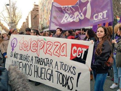 """""""El 8M hicimos paro en Telepizza contra la precariedad que vive la juventud"""""""